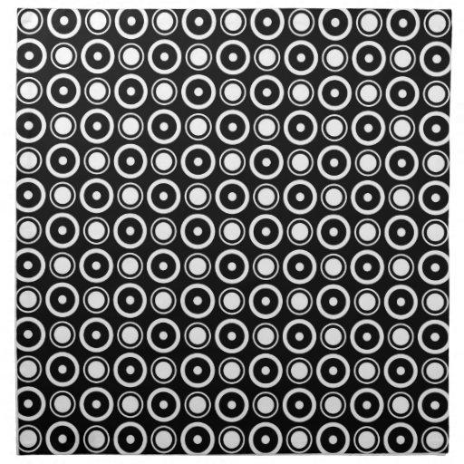 Fondo negro de los lunares elegantes blancos negro servilleta | Zazzle
