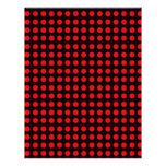 Fondo negro de los lunares y puntos rojos membrete a diseño