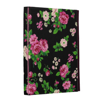 Fondo negro de los rosas rosados del vintage