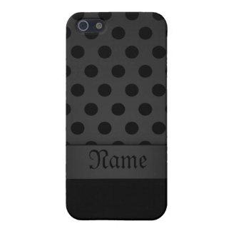 fondo negro del caso del iPhone 5 con Polkadots iPhone 5 Fundas