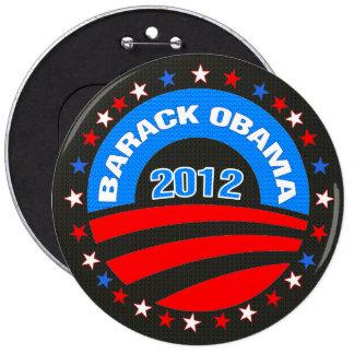 Fondo negro del logotipo 2012 de Barack Obama Pin Redondo De 6 Pulgadas