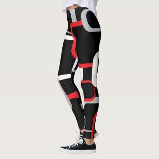 Fondo negro del rojo, blancos y grises de los leggings
