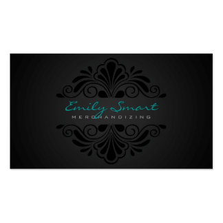 Fondo negro floral negro de la pendiente tarjetas de visita