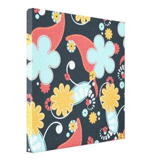FONDO NEGRO FLORAL RETRO floral58 AZUL CLARO Impresiones En Lona
