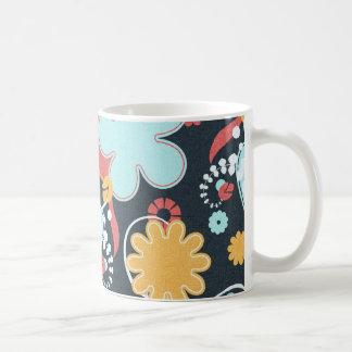 FONDO NEGRO FLORAL RETRO floral58 AZUL CLARO Taza De Café