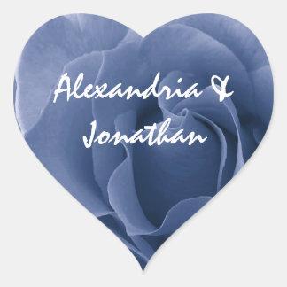 Fondo negro subió boda azul elegante B02 Pegatina En Forma De Corazón
