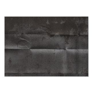 Fondo negro sucio arrugado invitación 12,7 x 17,8 cm