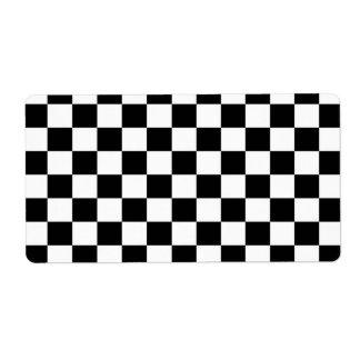 Fondo negro y blanco del tablero de damas etiquetas de envío