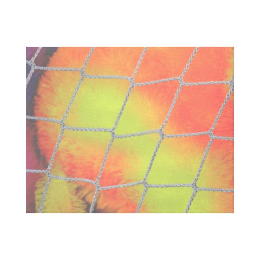 Fondo neto con imagen peluda anaranjada y amarilla lona estirada galerías