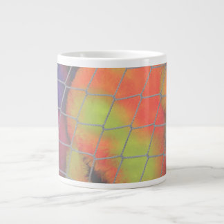 Fondo neto con imagen peluda anaranjada y amarilla taza de café gigante