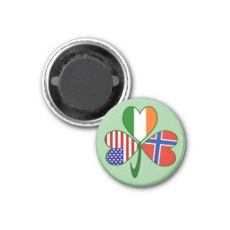 Fondo noruego del verde del trébol imán redondo 3 cm