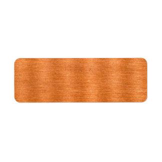 Fondo ondulado de cobre pulido de la textura etiqueta de remitente