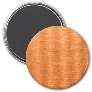 Fondo ondulado de cobre pulido de la textura imán redondo 7 cm