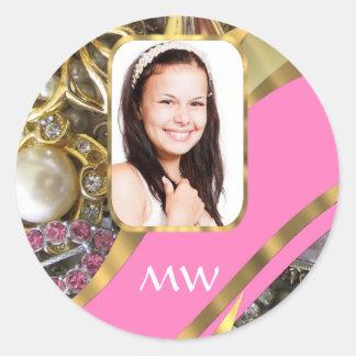 Fondo personalizado joyería rosada pegatina redonda