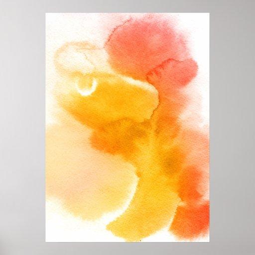 Fondo pintado a mano 13 de la acuarela abstracta póster