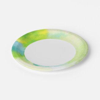 Fondo pintado a mano 16 de la acuarela abstracta platos de papel