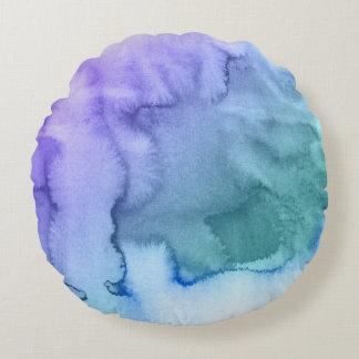 Fondo pintado a mano 6 de la acuarela abstracta cojín redondo