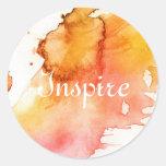 Fondo pintado a mano de la acuarela abstracta pegatina redonda
