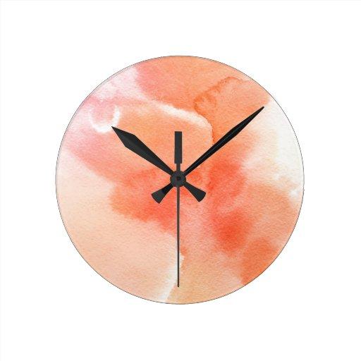 Fondo pintado a mano de la acuarela abstracta reloj redondo mediano