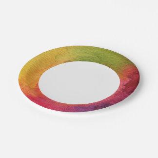 Fondo pintado acuarela abstracta platos de papel