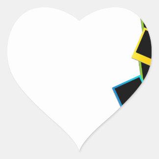 Fondo polaroid colorido pegatina en forma de corazón