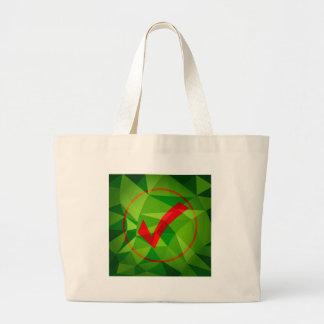 Fondo polivinílico bajo rojo verde del icono de la bolsa tela grande