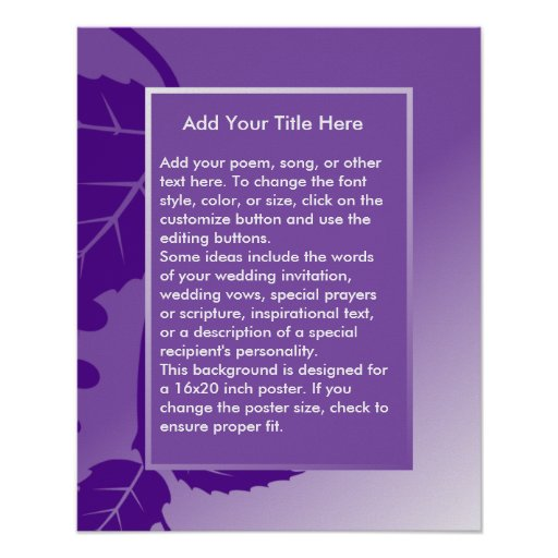 Fondo púrpura de encargo para el poster