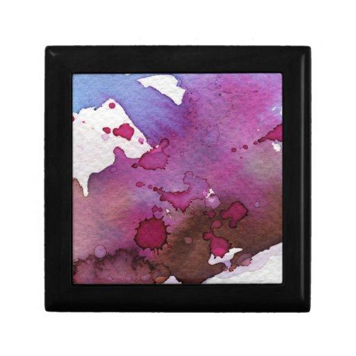 Fondo púrpura de la acuarela joyero cuadrado pequeño