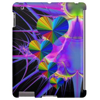 Fondo púrpura del fractal de 4 corazones del arco funda para iPad