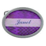 fondo púrpura elegante hebilla de cinturón oval