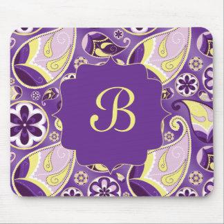 Fondo púrpura modelado Paisley púrpura Tapetes De Raton