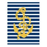 Fondo rayado azul y blanco del ancla amarilla tarjetas postales