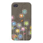 Fondo retro abstracto colorido de Brown de las flo iPhone 4/4S Fundas