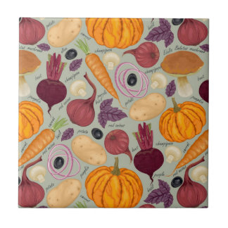 Fondo retro de verduras frescas azulejo cuadrado pequeño