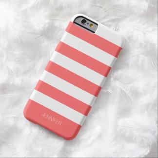 Fondo rojo coral de las rayas blancas de funda para iPhone 6 barely there