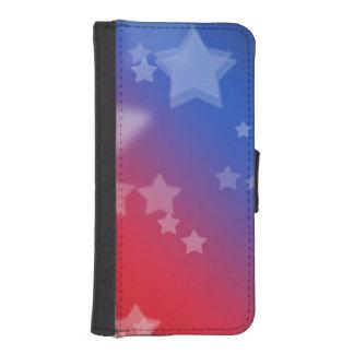Fondo rojo de estrella blanca y azul billeteras para teléfono