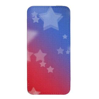 Fondo rojo de estrella blanca y azul funda acolchada para iPhone