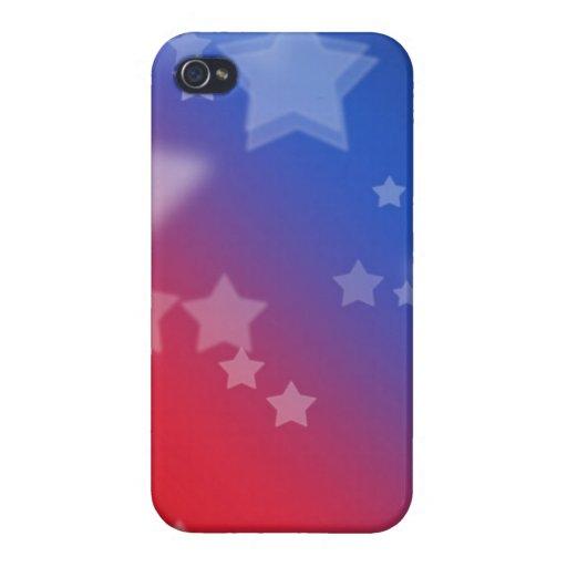 Fondo rojo de estrella blanca y azul iPhone 4 funda