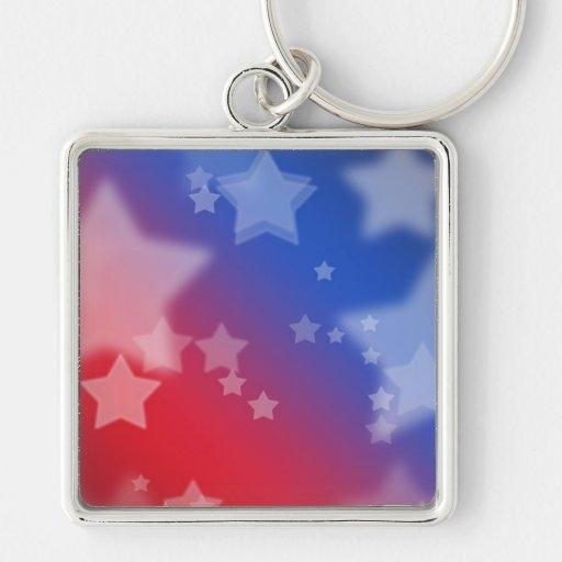 Fondo rojo de estrella blanca y azul llavero cuadrado plateado