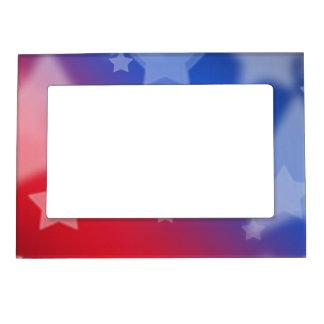 Fondo rojo de estrella blanca y azul marcos magneticos de fotos