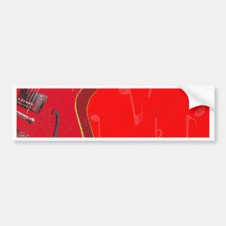 Fondo rojo de la guitarra pegatina para auto