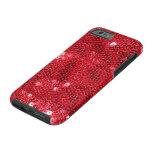 Fondo rojo de la imagen de la lentejuela funda de iPhone 6 tough