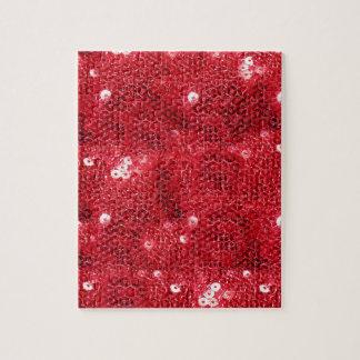 Fondo rojo de la imagen de la lentejuela puzzles con fotos
