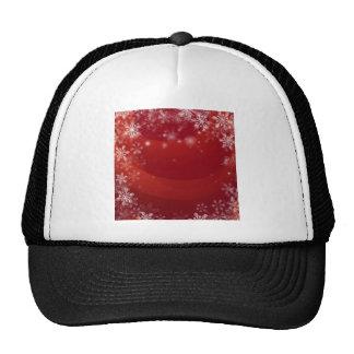 Fondo rojo de la nieve del navidad gorra