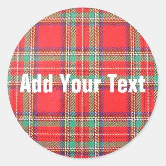 Fondo rojo de la tela escocesa para el texto de pegatinas redondas