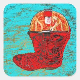 Fondo rojo de la turquesa de los pegatinas de las calcomanias cuadradas