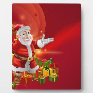 Fondo rojo de Santa del dibujo animado Placas De Plastico