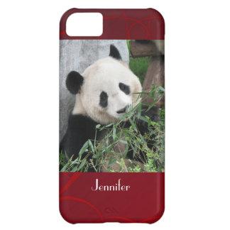 fondo rojo de Swirly de la panda gigante del caso Carcasa iPhone 5C