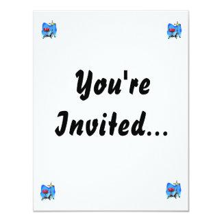Fondo rojo del azul de los platillos del hihat del invitación 10,8 x 13,9 cm