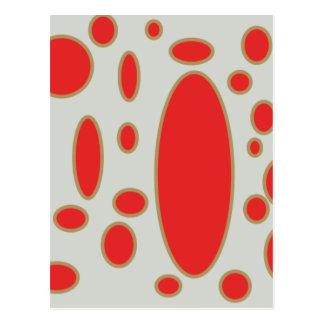 fondo rojo del blanco del círculo tarjetas postales
